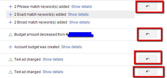 Google reklāma (AdWords). Undo