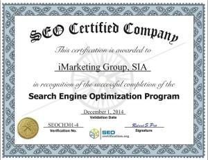 iMarketings SEO sertificate