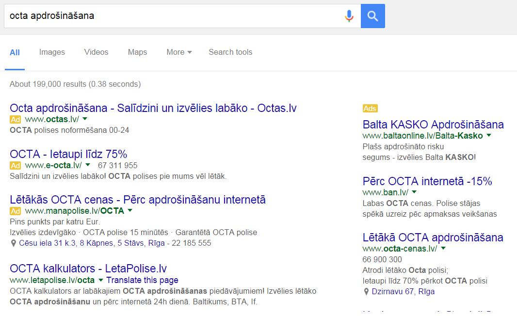 Google reklāmas ziņojumi. Klasiskais izvietojums.