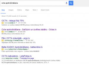 Google reklāma. 4 ads above fold.