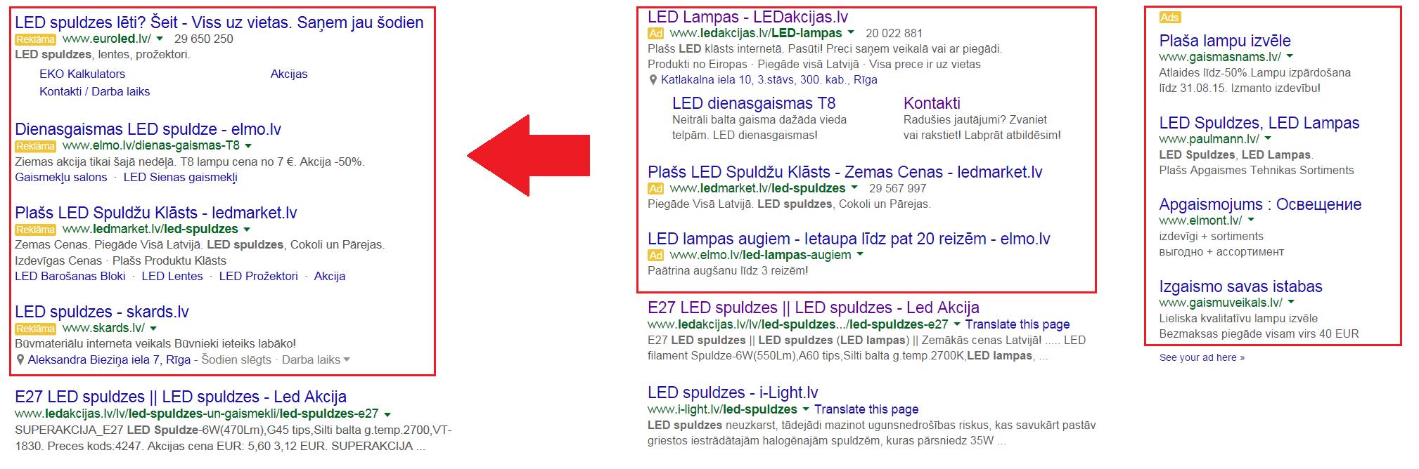 Google reklāma (AdWords). TOP4 reklāmas pozīcijas.