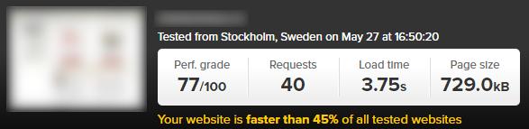 Mājas lapas ielādes ātrums pirms tās optimizācijas
