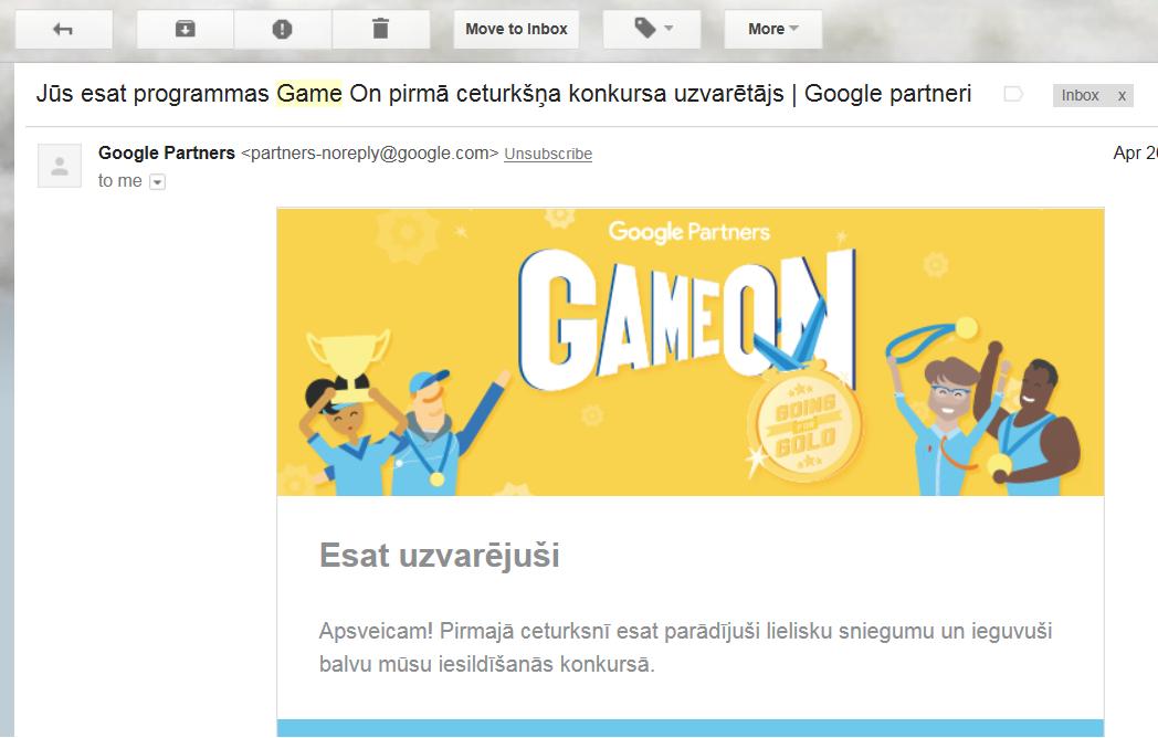 Google Game on ceturkšņa uzvarētājs | iMarketings.lv