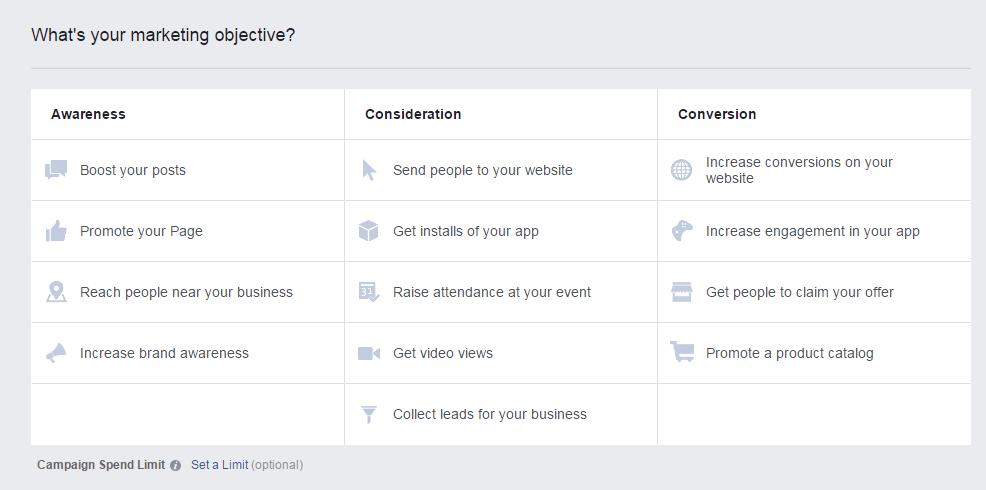Facebook reklāmas kampaņu mērķu izvēle