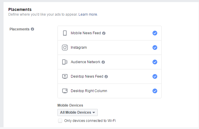 Facebook reklāma. Device izvēle