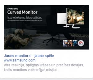 Facebook side bar ad