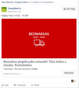 Facebook neveiksmīgas reklāmas piemērs