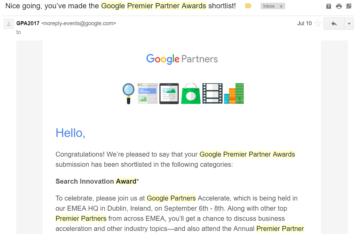 Google Premier Partner Awards shortlist