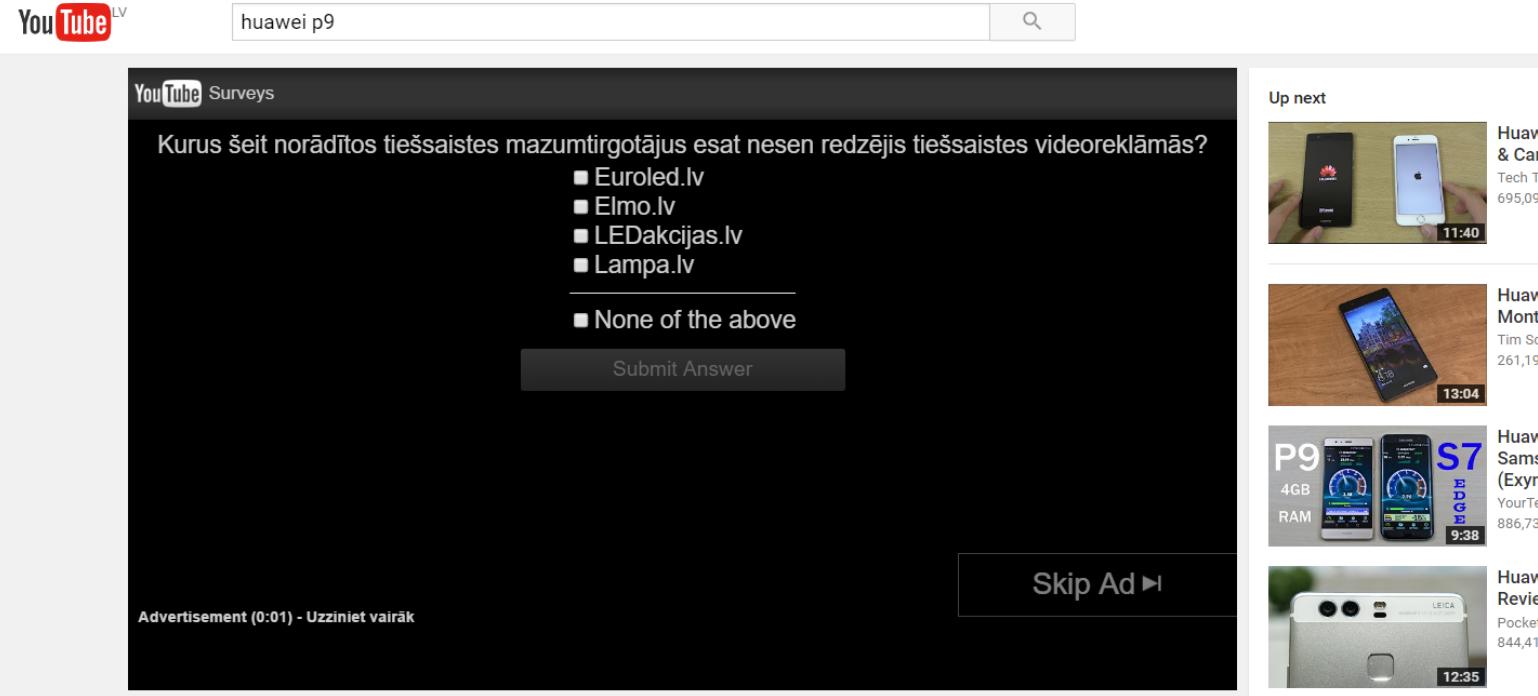 YouTube reklāma - Brand Lift